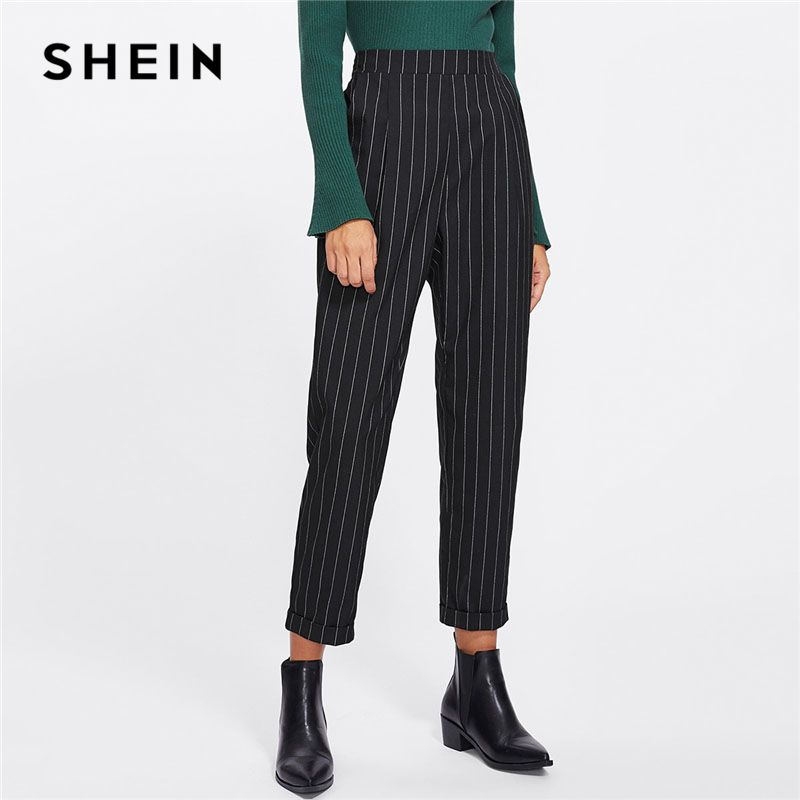 SHEIN Cuffed Leg Pinstripe Peg Pants Women Fashion Clothing High Waist <font><b>Work</b></font> Trousers 2018 Spring New Casual Elastic Waist Pants