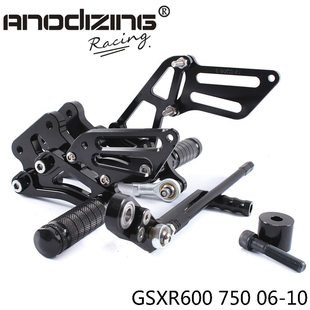 Full CNC Aluminum Motorcycle Adjustable Rearsets Rear Sets Foot Pegs For SUZUKI GSXR600 GSXR750 2006-2010