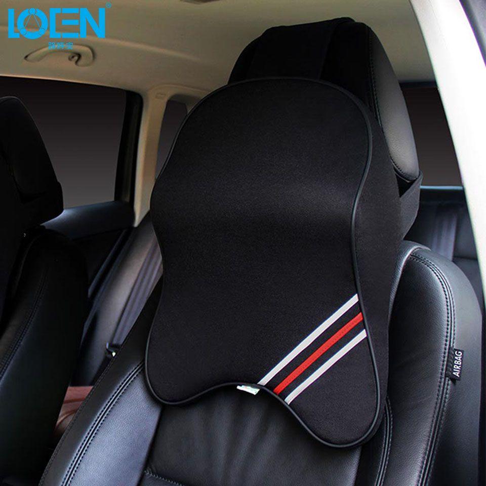 LOEN cuir ou coton 3D housse de siège de voiture soutien du cou oreiller appui-tête pour Hyundai Toyota Chevrolet Honda toutes les voitures