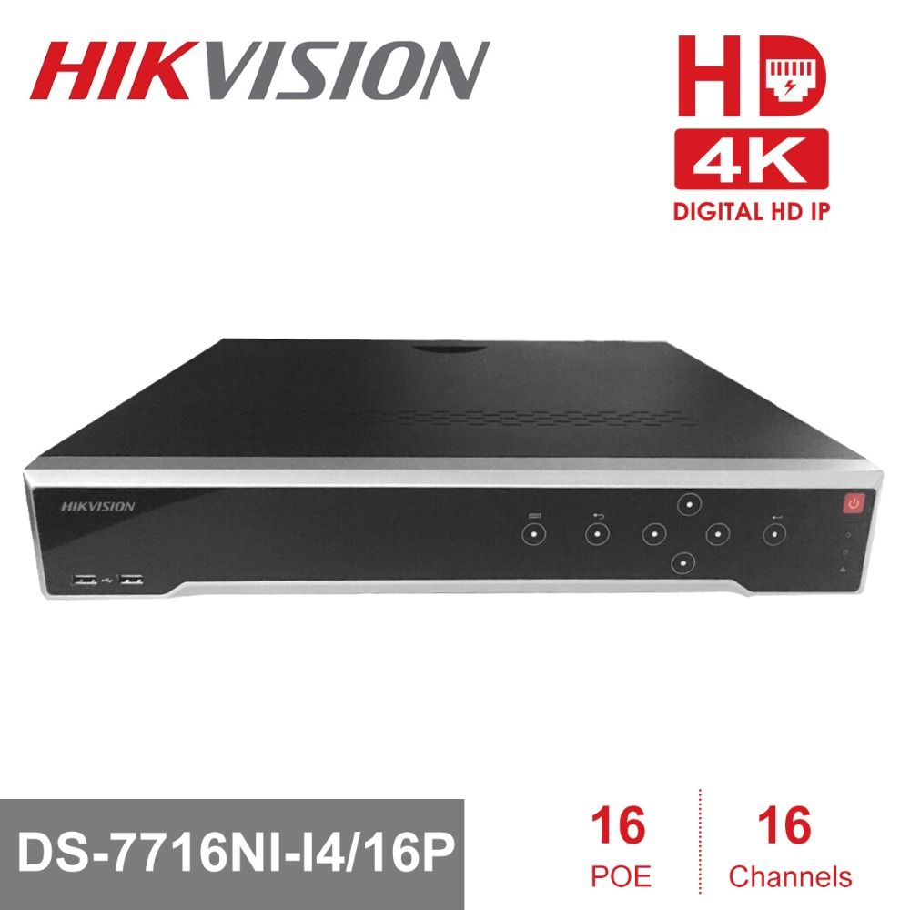 HIKVISION H.265 4K NVR 16CH DS-7716NI-I4/16P Professional POE NVR for CCTV Camera System HDMI VGA Plug & Play NVR