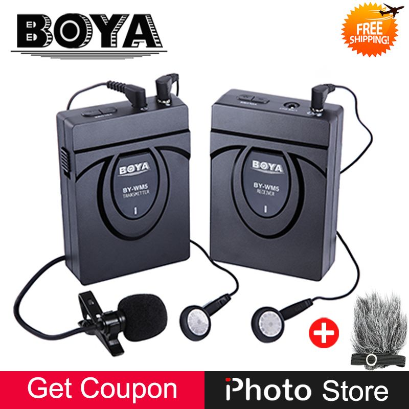 BOYA BY-WM5 Pro 2.4GHz GFSK Wireless Clip-on Lavalier Lapel Microphone System for DSLR Camera Camcorders Video Audio Recording