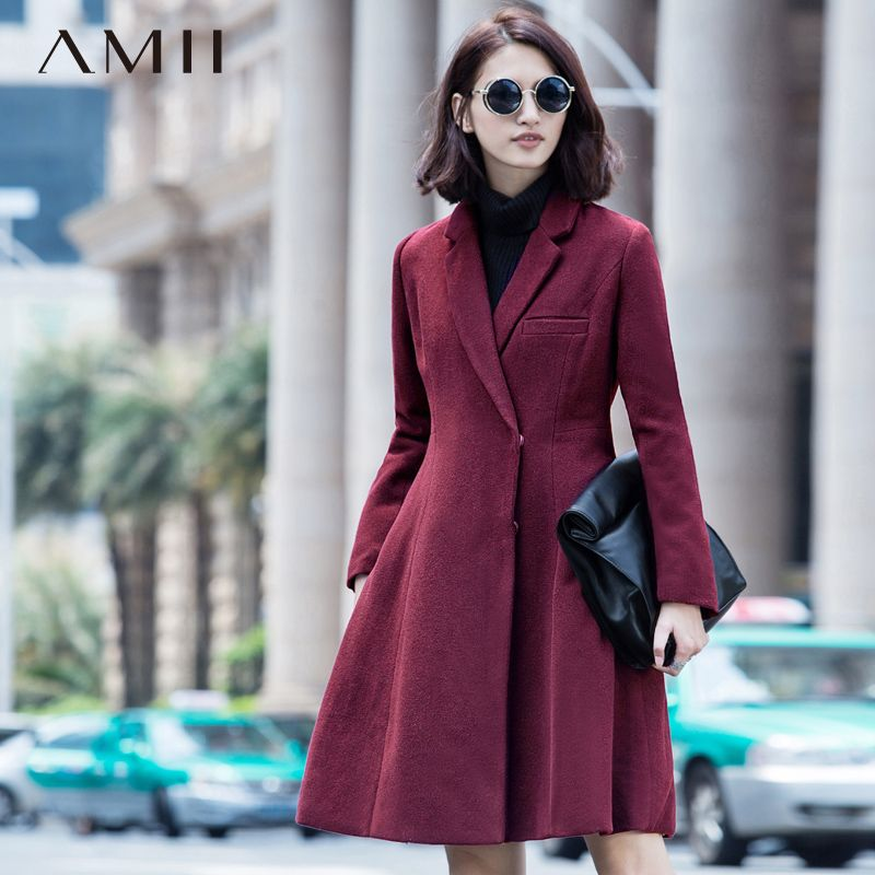 Amii Casual Women Woolen Coat 2017 Winter A-Line Covered Button Turn-down Collar Female Wool Blends