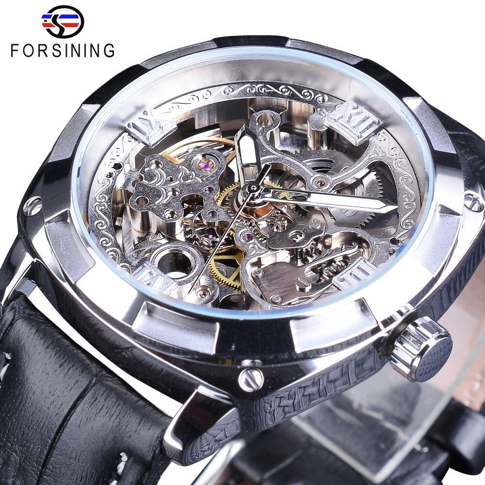 Forsining Sport Watches Black Silver Open Work Clock Male Luminous Waterproof Mens Automatic Wrist Watches Top Brand Luxury
