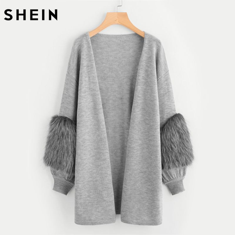 SHEIN Contrast Faux Fur Sleeve Open Front Cardigan Winter Sweater Women Long Sleeve V Neck Long Cardigan Sweater