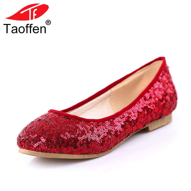 TAOFFEN Size 34-43 Women <font><b>Bling</b></font> Flats Shoes Glitters Round Toe Flat Shoes Woman Ballet Party Office Lady Daily Concise Footwear