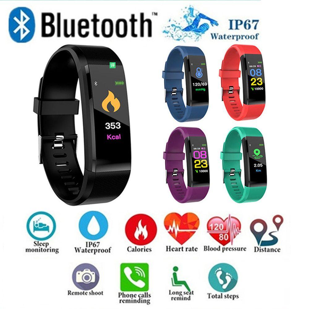 ID115 PLUS écran couleur Bracelet intelligent sport podomètre montre Fitness course à pied Tracker fréquence cardiaque podomètre bande intelligente