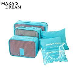 Mara de Rêve 6 pcs Polyester Emballage Cube Femmes Voyage Sac Étanche Bagages Vêtements Tidy Pouch Organisateur Grande Capacité Durable