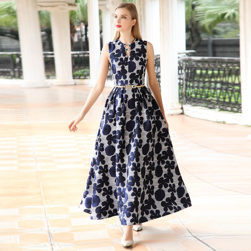 2018 nouvelle arrivée haute qualité d'été femmes robe Élégante floral Jacquard Robe sans manches Col V Gilet Longue maxi Robe Robes