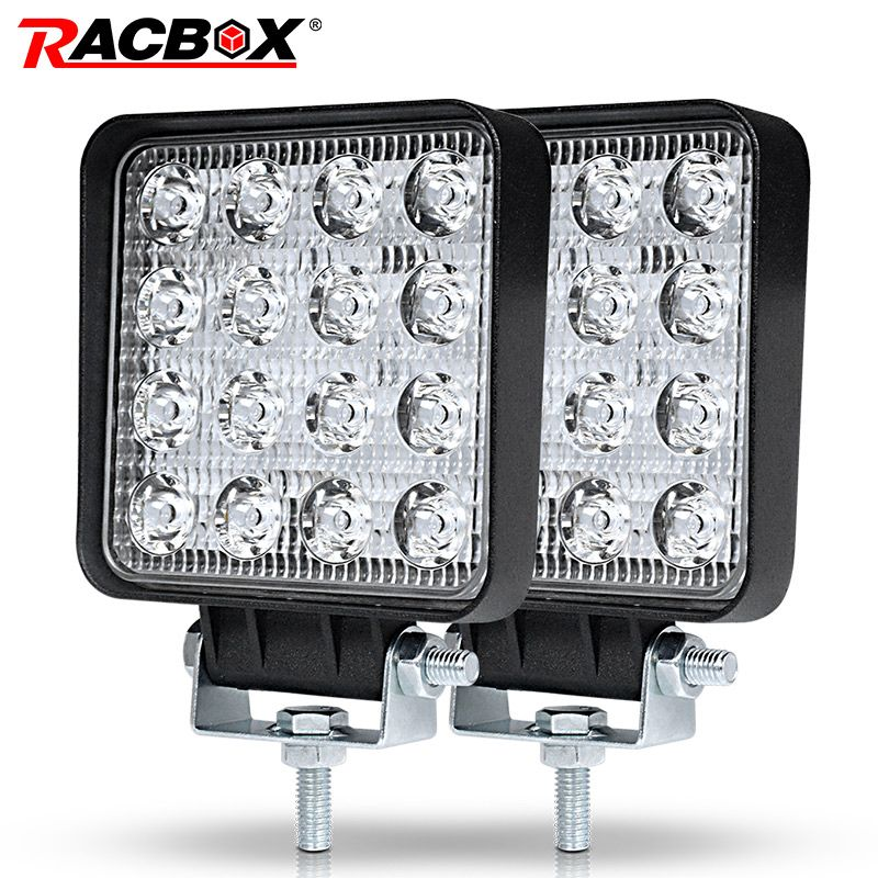 RACBOX 4 inch 48W Slim LED Work Light Flood Spot Driving Lamp for Lada Truck Trailer SUV Off Road Boat 12V 24V 4WD Car Styling