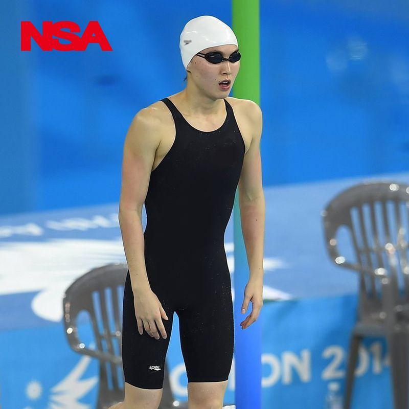 2019 nouveau!!! NSA noir une pièce compétition étanche résistance au chlore maillots de bain maillots de bain professionnels maillot de bain au genou