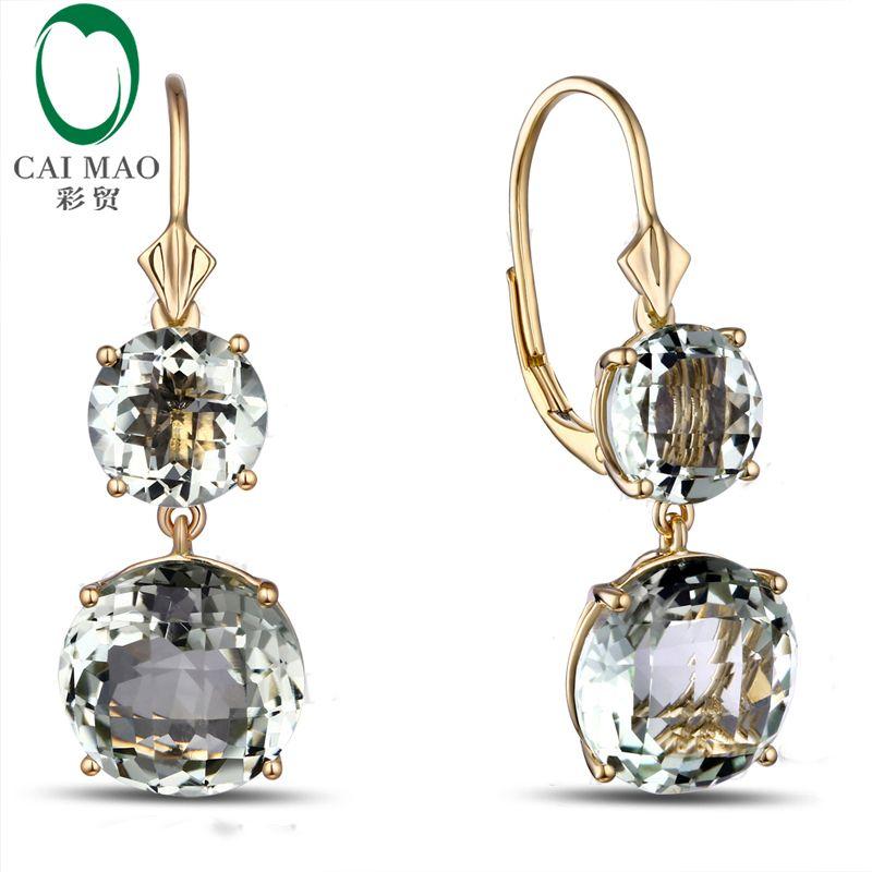 Caimao Bijoux Romantique 14 K Or et 12.85ct Améthyste Engagement Boucles D'oreilles