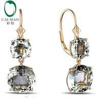 Caimao joyería romántica 14 K oro y 12.85ct de compromiso de amatista pendientes de la gota