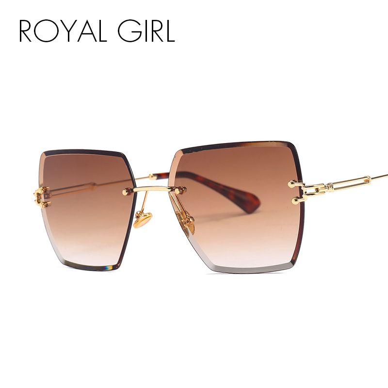 ROYAL GIRL Rimless Square Sunglasses Women Fashion 2018 Summer Style Brand Designer Gradient Lens Eyewear UV400 Glass SS777