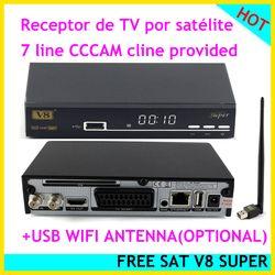 [Genuine] Freesat V8 Super dvb-s2 receptor de satélite powervu Cccam youporn IPTV youtube euroconector satélite receptor decodificador