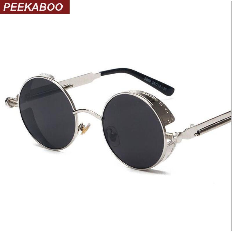 Peekaboo haute qualité rétro femmes rondes lunettes de soleil steampunk métal cadre vintage rond lunettes de soleil mâle femme miroir uv400
