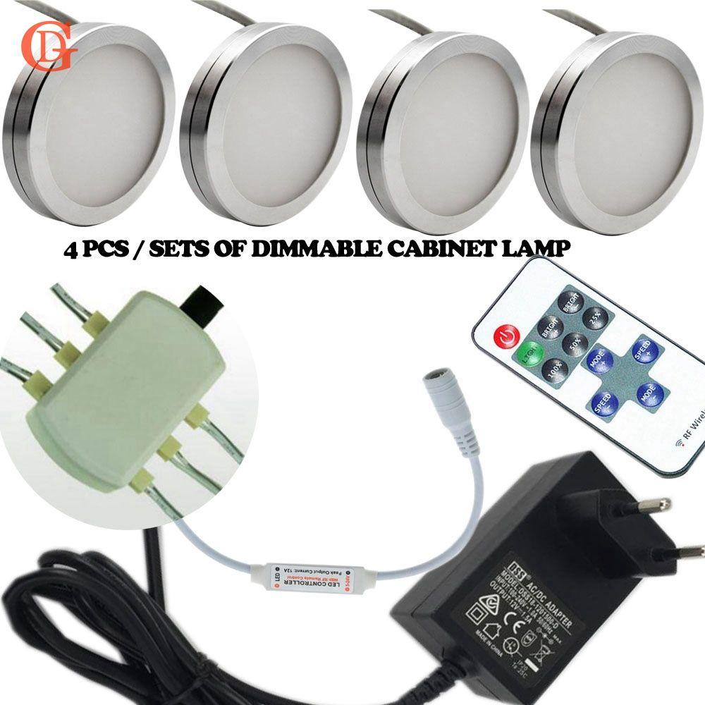 4 pcs ensembles de Dimmable 12 V DC 2.5 W LED Sous L'éclairage Du Cabinet Puck Lumière pour la Cuisine, Contre LED Cabinet lumière