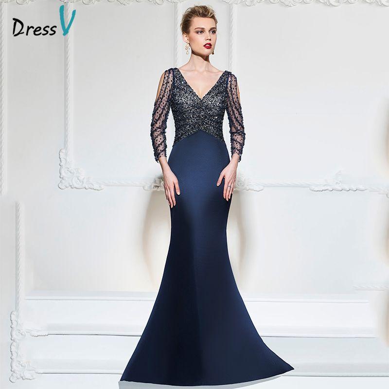 Dressv dark navy nixe-langes abendkleid v-ausschnitt 3/4 ärmel button hochzeit formale kleider kleid pailletten abendkleider