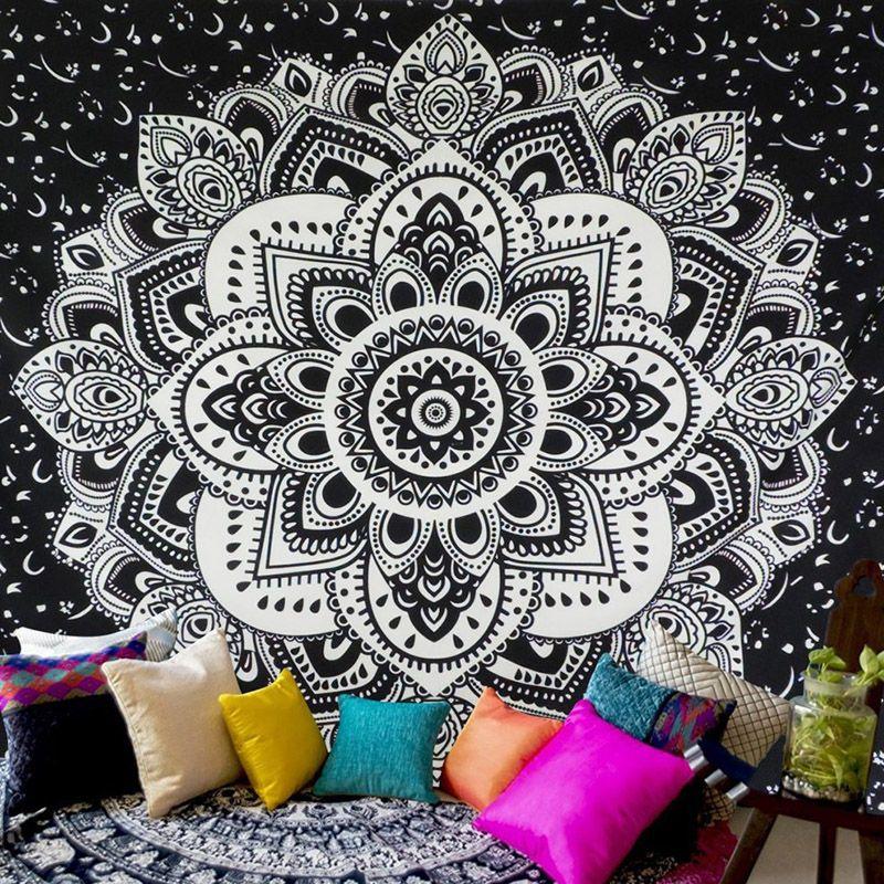 США доставка Chic Богемия Мандала Цветочный Ковры стене висит Гобелены для украшения стены мода племя Стиль