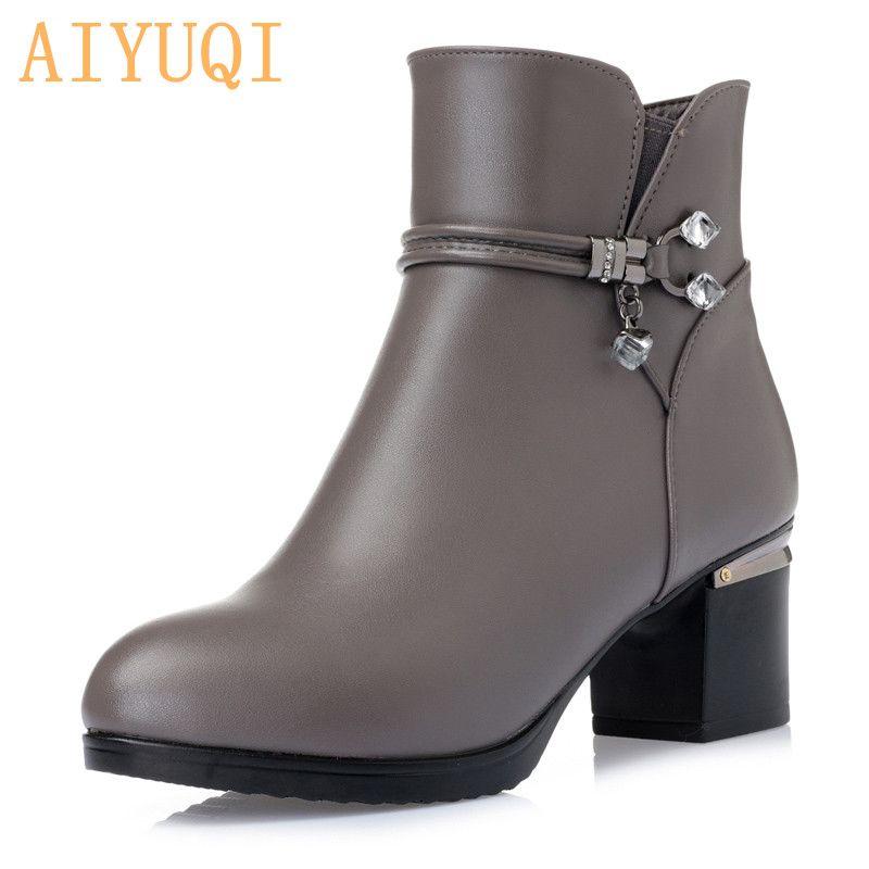 AIYUQI hiver laine femmes bottes en cuir véritable neige bottes pente avec épais chaud bottines femmes bottes grande taille 35-43 #
