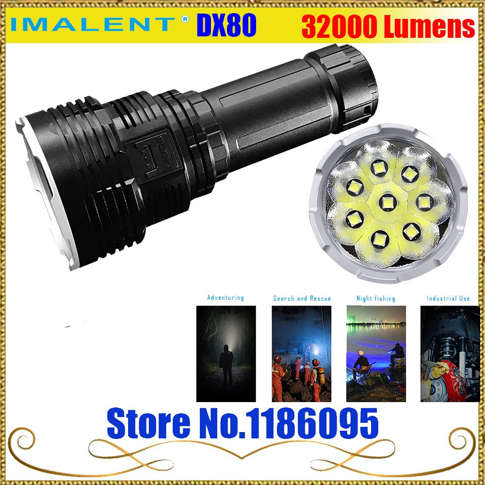 IMALENT DX80 8*Cree XHP70 LED Flashlight 32000 Lumens 806 Meters USB Charging Interface Torch Flashlight