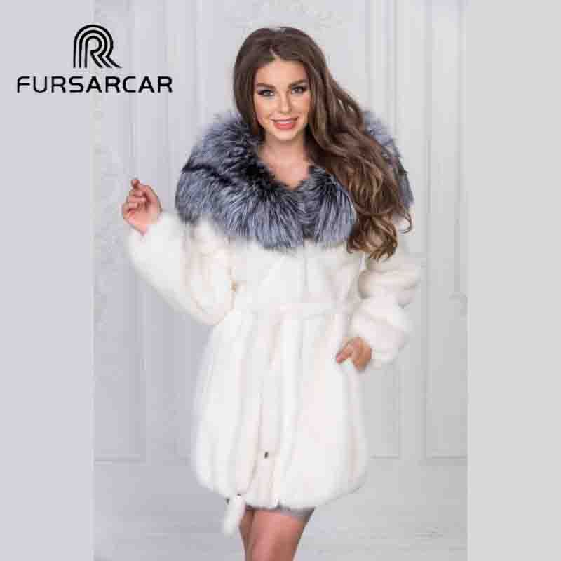 FURSARCAR 2018 New Arrival Full Pelt Natural Mink Fur Coat Women With Silver Fox Fur Collar Genuine Mink Fur Female Coat