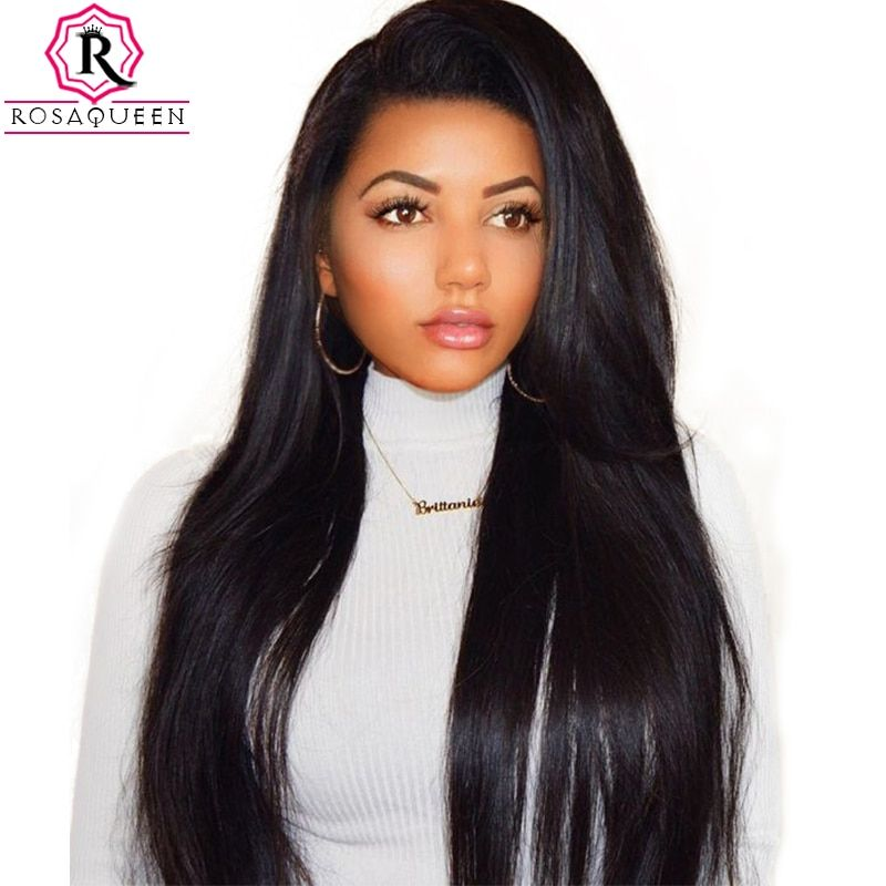 250% Density Lace Front <font><b>Human</b></font> Hair Wigs For Women Brazilian Straight Pre Plucked Frontal Lace Wig Natural Black Rosa Queen Remy