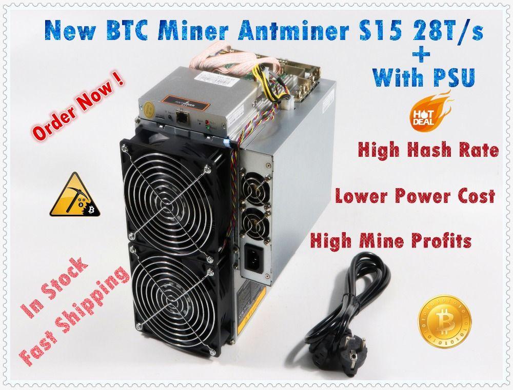 Neueste BTC BCH 7nm Asic Miner AntMiner S15 28 T SHA256 Miner Besser Als BITMAIN S9 S9j Z9 WhatsMiner M3 m10 auf lager schiff