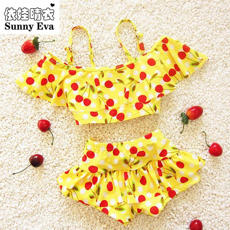 Sunny eva kinder badeanzug mädchen kirsche bebek bikini babybadebekleidung mädchen schwimmen badeanzüge für kinder mädchen schwimmen