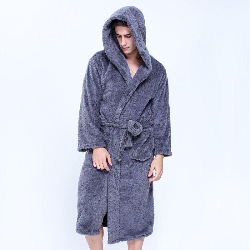 Plus la taille XXL robes à capuchon peignoirs pour hommes D'hiver Garder au chaud à manches longues exquis en peluche robe de chambre hommes couples robes