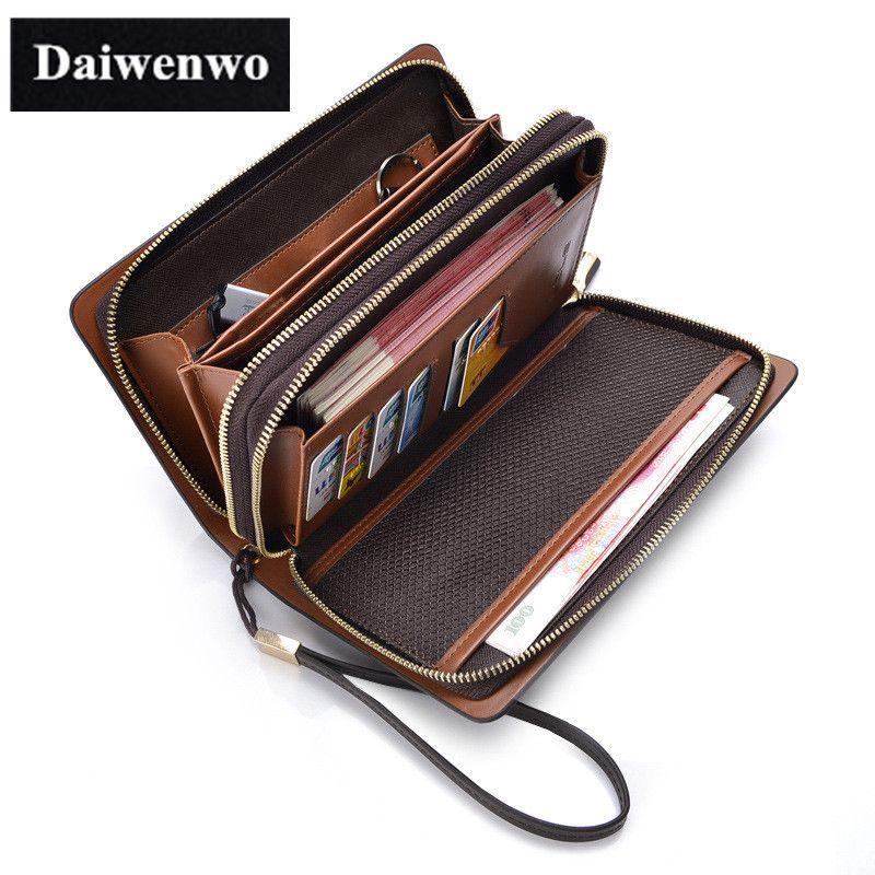Neue Marken Handtasche Männer Brieftaschen Braun Luxus Große Kapazität Geschenk für Männlich Doppel-reißverschluss Lange Brieftasche Handtasche