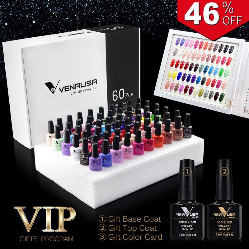#61508 2019 new 60 fashion color Venalisa gel polish vernish color gel polish for nail art design whole set nail gel learner kit