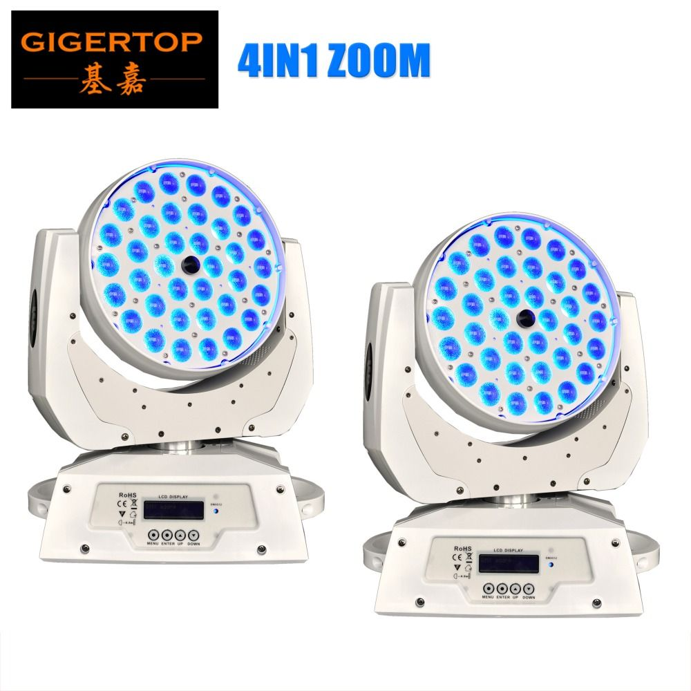 White Case 2pcs/lot 36x10W Zoom Led Moving Head Light DMX 512 14CH LCD Screen RGBW Led Moving Head Wash Light 90V-240V