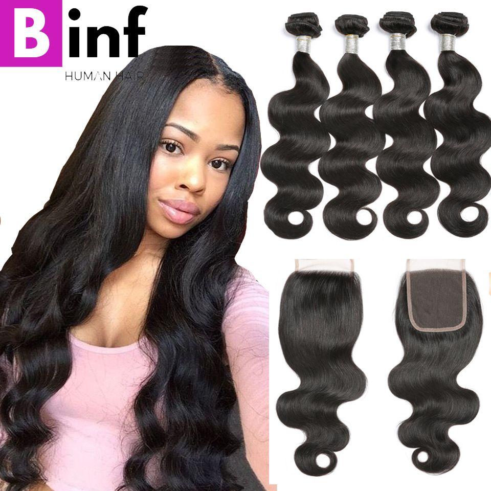 BINF Hair 4 Bundles Brazilian Virgin Hair Body Wave 100% Human Hair Natural Color Brazilian Hair Weave Bundles With Closure