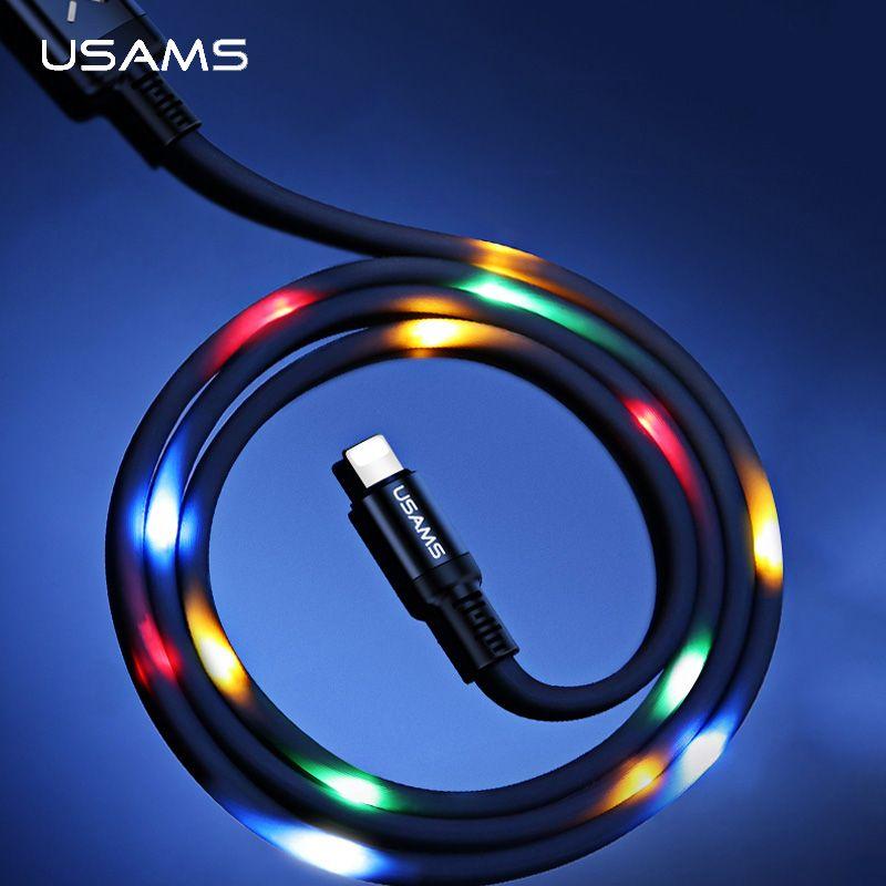 Volumen Control Dance LED Licht Flash Kabel für iPhone 6 7 X, USAMS SR Daten Sync 2A Schnelle Lade USB Kabel für Beleuchtung kabel led