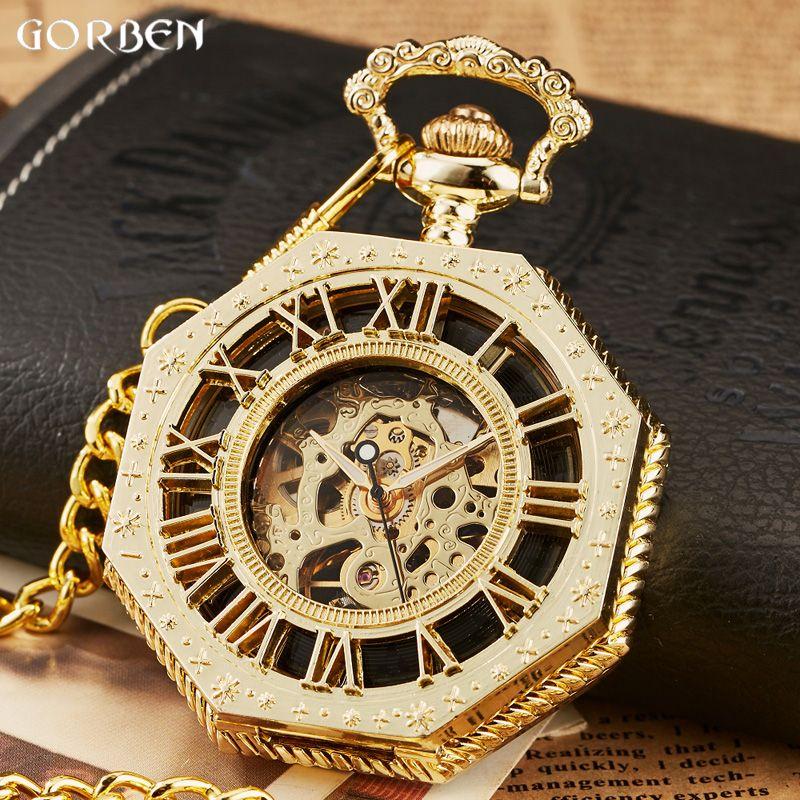 Luxus Einzigartigen Sechseckigen Römische Zahl Taschenuhr mit FOB Kette Steampunk Voller Stahl Mechanische handaufzug Gold Taschenuhr
