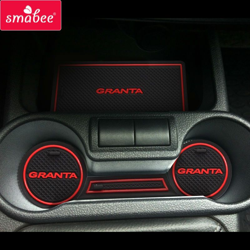 For Lada Kalina GRANTA Accessories,3D Rubber Car Mat Car Anti Slip Mat, Non-slip Mats Interior Door <font><b>Pad</b></font>/Cup Mat