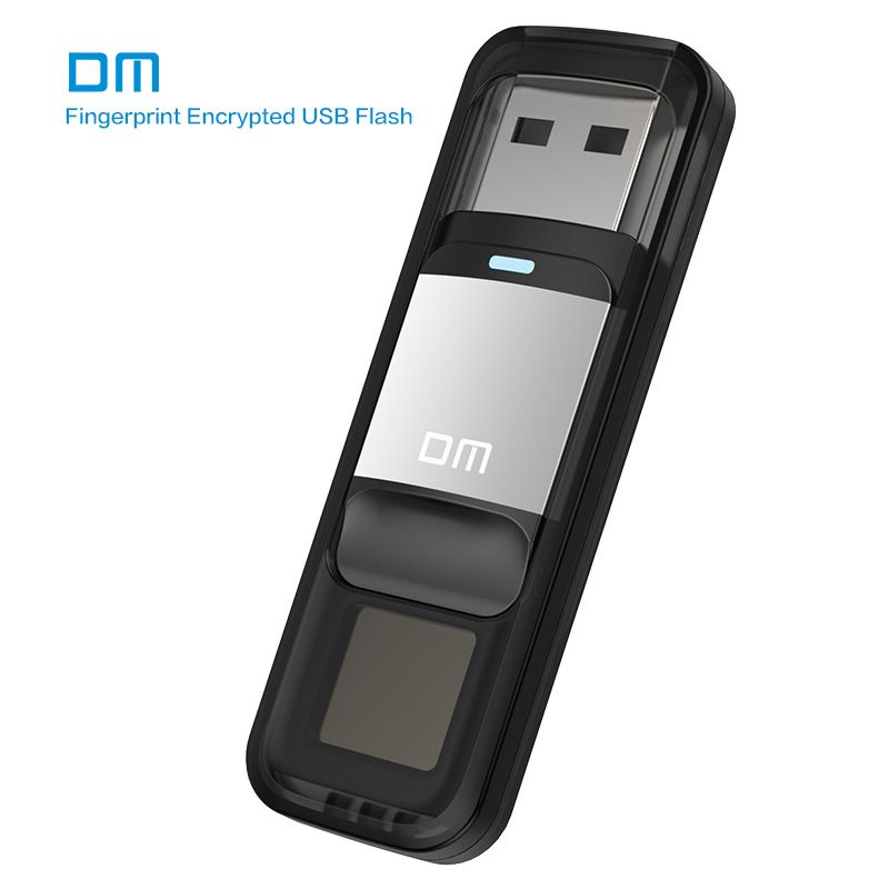 DM PD061 USB3.0 64GB U Disk Storage Device Flash Drive Pen Drive with Fingerprint Encryption Function <font><b>Golden</b></font> / Sliver Color