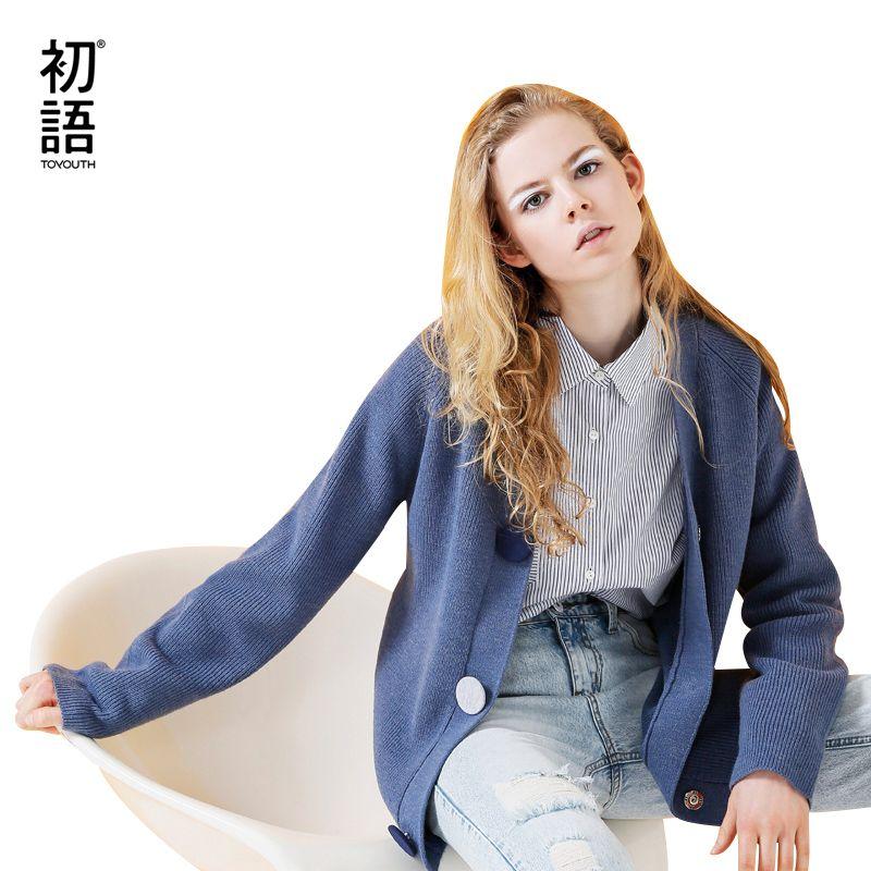 Toyouth Cardigan Femmes Solides Manches Longues Bleu Chandail Occasionnel V-cou Tricoté Chandails Single-Breasted Pull Femme Survêtement Manteau