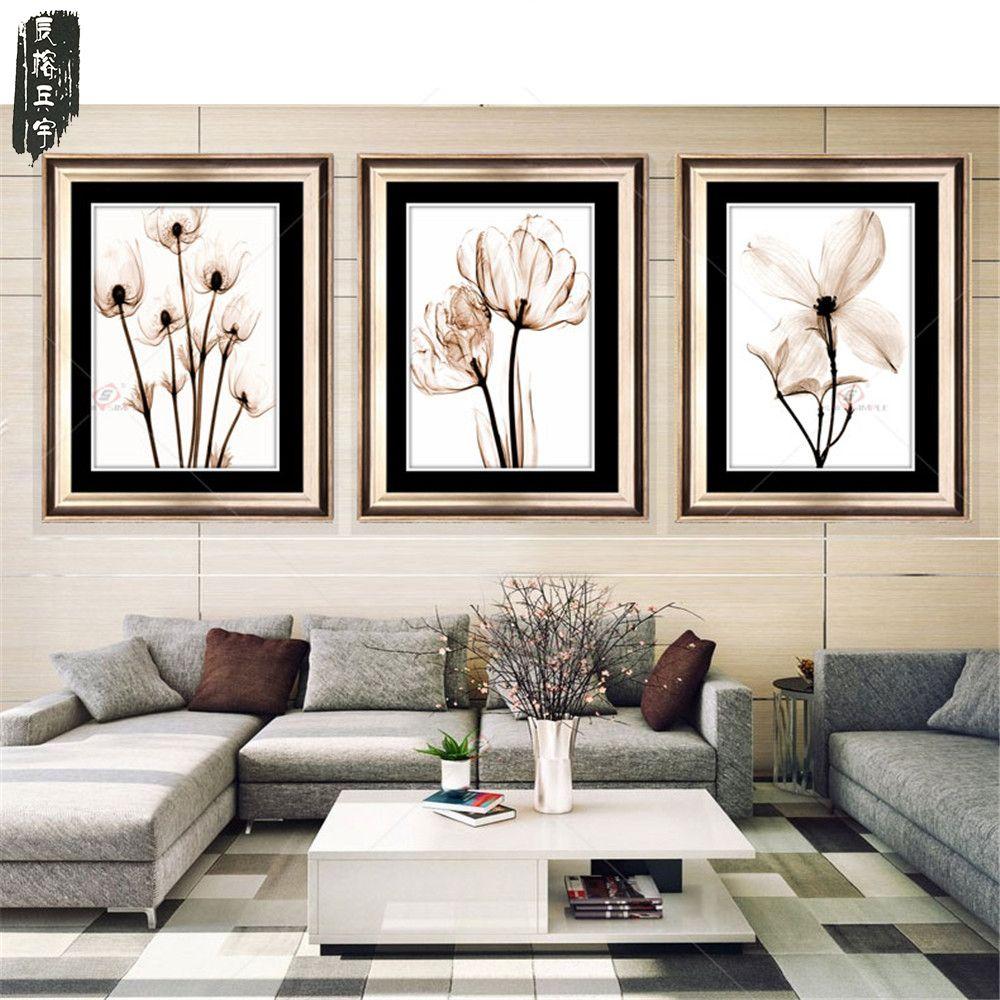 3 pcs Modulaire Image Art Peinture À L'huile peinture Décoration De La Maison Toile peintures Photos Impression Sans Cadre Fleur pour Salon