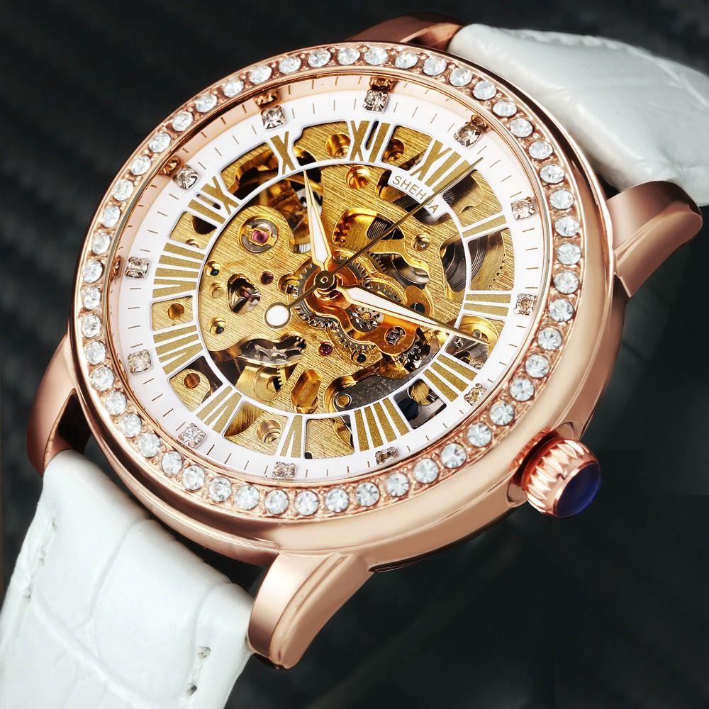 2018 SH Fashion Elegant Women Mechanical Wrist Watches Leather Watchband Female Automatic Clock Crystal Decoration Skeleton Dial