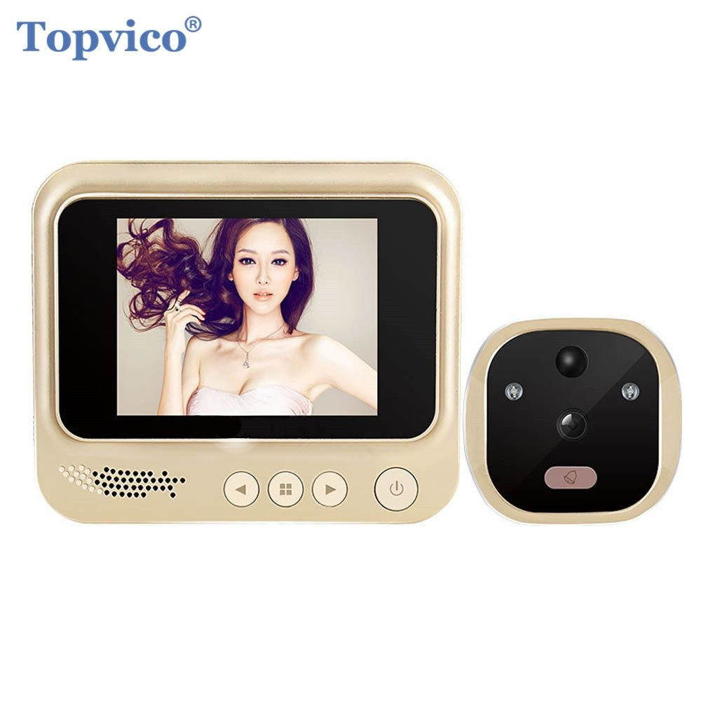 Topvico Video Door Viewer Motion Detection Electronic Peephole Ring Doorbell Camera Video-eye Security Auto Photo Li-Battery