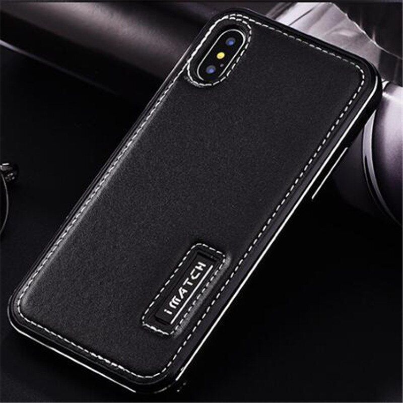 Case For Iphone X Luxury Genuine Leather back cover Aluminum Metal Bumper Case for Iphone X 10 Protective cases