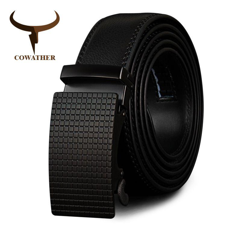 COWATHER Cow <font><b>Genuine</b></font> Leather Belts High Quality for Men Automatic Vintage Male Belt Brand Ratchet Buckle Belts 110-130cm long