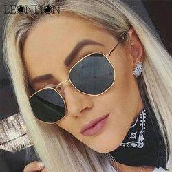 LeonLion 2018 Polygonale Femmes lunettes de Soleil Hommes Lunettes Dame De Luxe Rétro En Métal Lunettes de Soleil Vintage Miroir UV400 oculos de sol