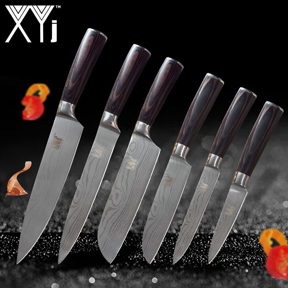 XYj Kitchen Knives Stainless Steel Knife Tools New Arrival 2018 Color Wood Handle Fruit Vegetable Meat Cooking Tools Accessories
