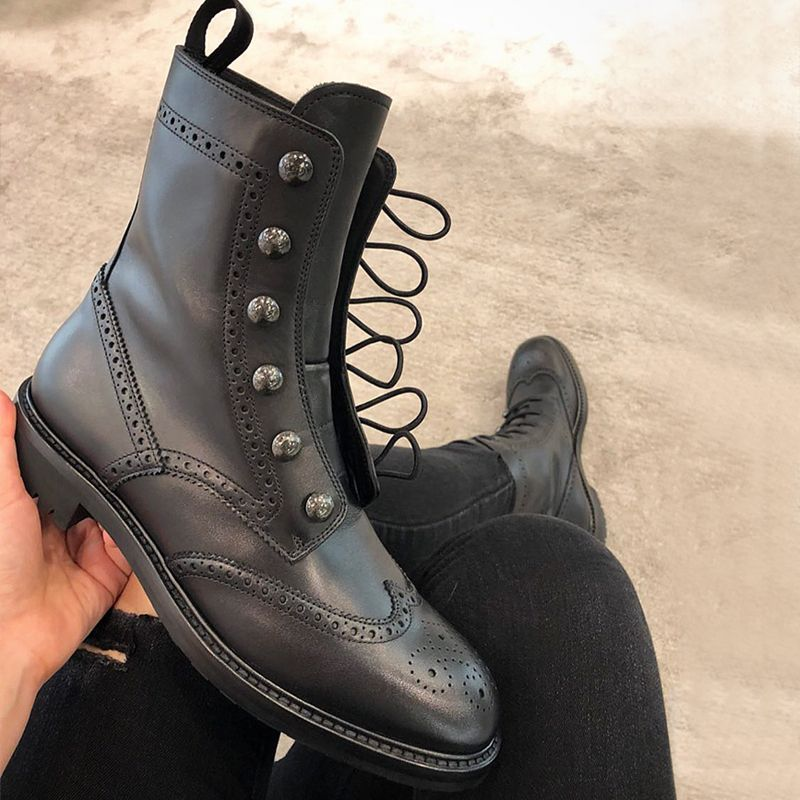 2018 Genuine Leather Black Women Ankle Boots Lace-Up Fashion Chelsea Boots for women botas hunter martin boots zapatos de mujer