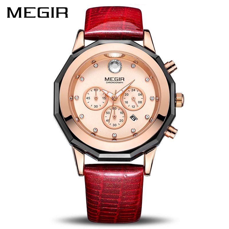 New MEGIR Women Watches Fashion Luminous Leather Quartz Ladies Wrist Watch Clock <font><b>Montre</b></font> Femme for Female Lovers Relogio Feminino