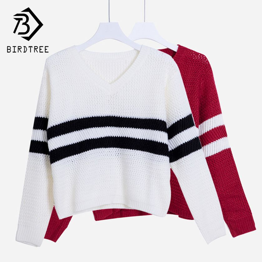 4 Colors!Spring Autumn Women Sweaters Pullovers V-neck Crop Tops <font><b>Striped</b></font> Long Sleeve Knitted Sweater Roupas Femininas T4N510