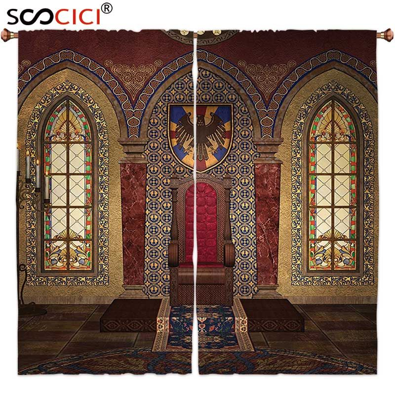 Window Curtains Treatments 2 Panels,Gothic House Decor Red Medieval Throne in Chapel Eagle Portrait on Wall Ancient Fantasy