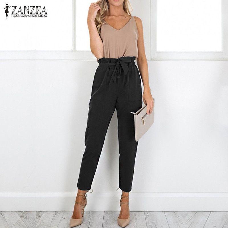 2017 ZANZEA Mujeres Pantalones Casual de Las Señoras del Otoño Longitud Del Tobillo de Cintura Alta Harem Pockets Sólido Cinturón de Gran Tamaño Pantalones